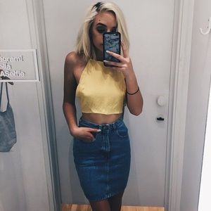 American Apparel High Waisted Denim Fitted Skirt L